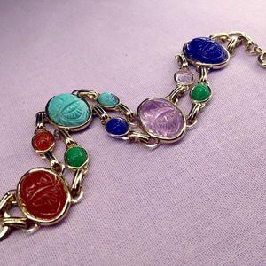 Vintage Lucite Scarab Egyptian Revival Bracelet
